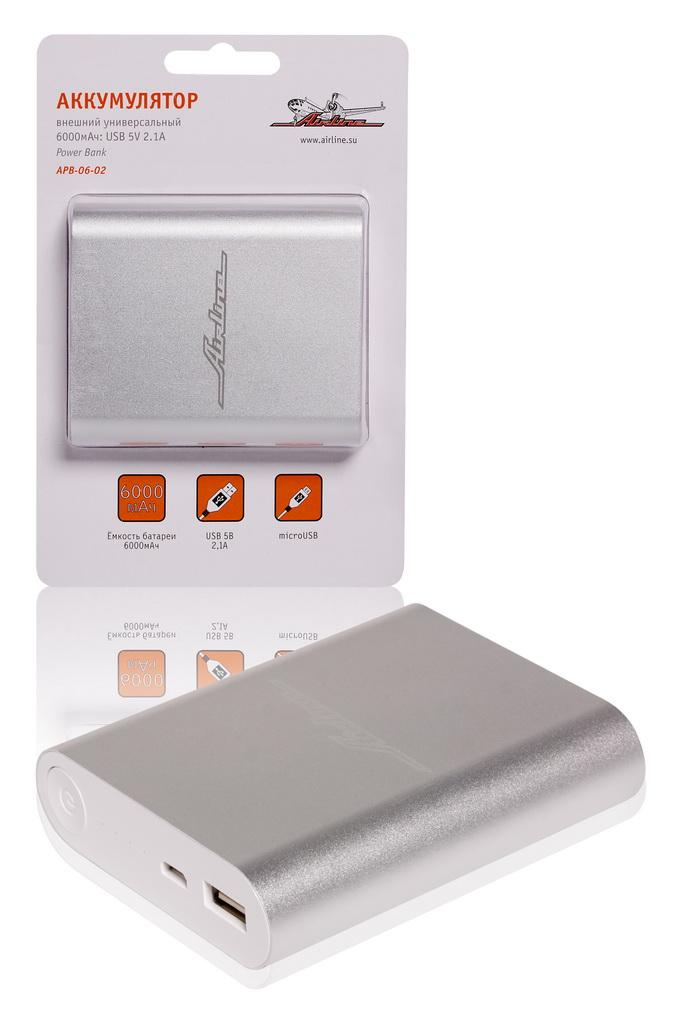 (доставка 2-3 часа)Аккумулятор внешний универсальный 6000мАч: USB 5V 2.1A (APB-0