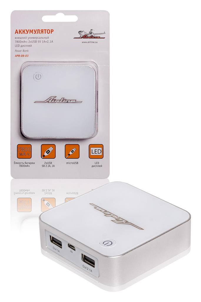 (доставка 2-3 часа)Аккумулятор внешний универсальный 7800мАч: 2хUSB 5V 1A+2.1A L